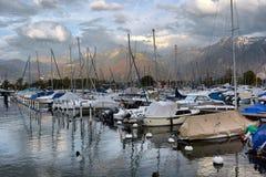 Yachts on autumn parking lot on Lake Geneva Stock Photo