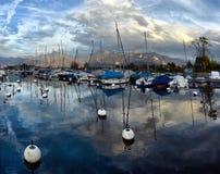 Yachts on autumn parking lot on Lake Geneva Stock Photography