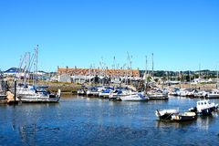 Yachts in Axmouth harbour. Stock Photography