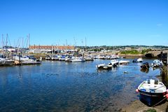 Yachts in Axmouth harbour. Royalty Free Stock Photography