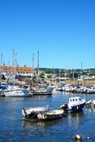 Yachts in Axmouth harbour. Royalty Free Stock Photos