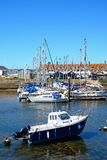Yachts in Axmouth harbour. Stock Image