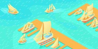 Yachts a bandeira horizontal do cais, estilo dos desenhos animados ilustração stock