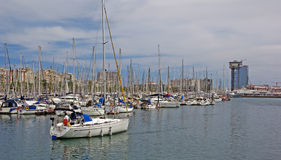 Yachts in Barcelona. Stock Photos