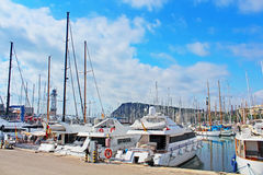 Yachts in Barcelona, Spain Royalty Free Stock Photos