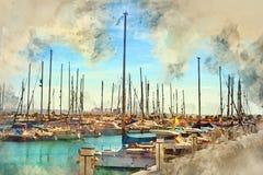 Yachts barcos em Torrevieja, Espanha ilustração do vetor