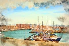 Yachts barcos em Torrevieja, Espanha ilustração stock