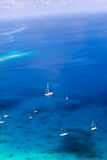 Yachts in a bay. Aerial view. Royalty Free Stock Photography