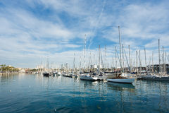 Yachts in the bay of Barcelona Stock Photography