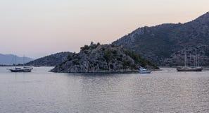 Yachts in the Bay of Bozburun Royalty Free Stock Photos
