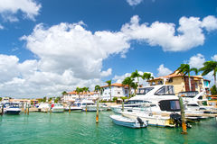 Yachts in bay with cloudy sky Stock Photography