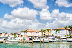 Yachts in bay with cloudy sky Royalty Free Stock Photos