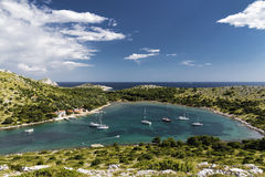 Yachts in a bay - Croatia Stock Images
