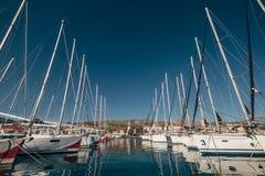 Yachts in the bay docks at Trogir town, Dalmatia, Croatia Stock Images
