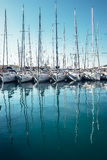 Yachts in the bay docks at Trogir town, Dalmatia, Croatia Royalty Free Stock Photo