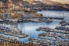 Yachts in the bay of Monaco, France Royalty Free Stock Photos