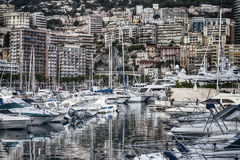 Yachts in the bay of Monaco, France Stock Photos