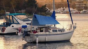 Yachts In The Bay At Sunset stock video footage