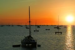 Yachts bay sunset. Yachts in a bay at sunset Royalty Free Stock Photography