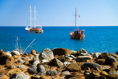 Yachts in bay Royalty Free Stock Images