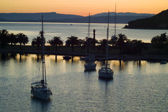 Yachts in bay of Vis town at sunrise Stock Photography