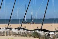 Yachts on the beach at Chatelaillon Plage near La Rochelle - France stock images