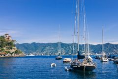 Yachts in beautiful bay and picturesque seascape. In Portovenere, Italy royalty free stock photos