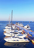 Yachts on the berth in Black sea Stock Photos