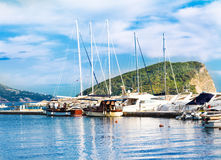 Yachts Berth. At Budva, Montenegro. Island on background Stock Photo