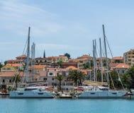 Yachts berthed at a marina in Trogir, Croatia Royalty Free Stock Photos