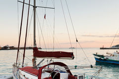 Yachts and Black Sea in warm evening, Yalta Stock Photos