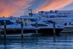 Yachts at Blue Sunset Stock Images