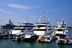 Yachts and boat anchoring in harbor of Hongkong golden coast Royalty Free Stock Photo