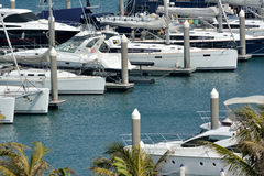 Yachts and boat anchoring in harbor Stock Photography