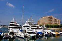 Yachts and boat at harbor of Hongkong gold coast Stock Photo