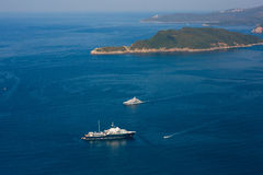 Yachts and boats in the Adriatic Sea. In Montenegro Royalty Free Stock Image
