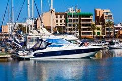 Yachts and boats anchored at a marina. Royalty Free Stock Images