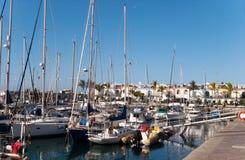 Yachts and boats anchored at a marina. Sailing Boats Royalty Free Stock Image