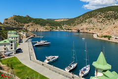 Yachts and boats in the Balaclava Bay. Stock Images