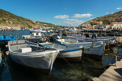 Yachts and boats in the Balaclava Bay. Royalty Free Stock Images