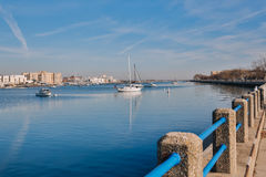 Yachts and boats in bay Stock Images