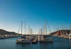 Yachts and Boats in Cartagena's port. Sea. morning Royalty Free Stock Images