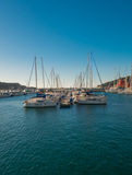 Yachts and Boats in Cartagena's port. Sea. morning stock photo