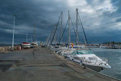 Yachts and Boats in Cartagena's port. Sea. morning royalty free stock image