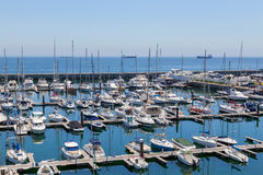 Yachts and boats in coast marine Stock Images