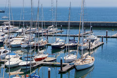 Yachts and boats in coast marine Stock Photography