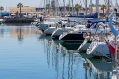 Yachts and boats in coast marine Royalty Free Stock Photos