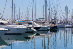 Yachts and boats in coast marine Royalty Free Stock Photos