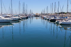 Yachts and boats in coast marine Royalty Free Stock Images