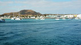 Yachts and boats at the corralejo, timelapse hyperlapse  stock video